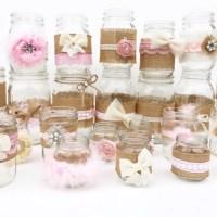 Shabby Chic Centerpieces Mason Jars Rustic Baby Shower Baby