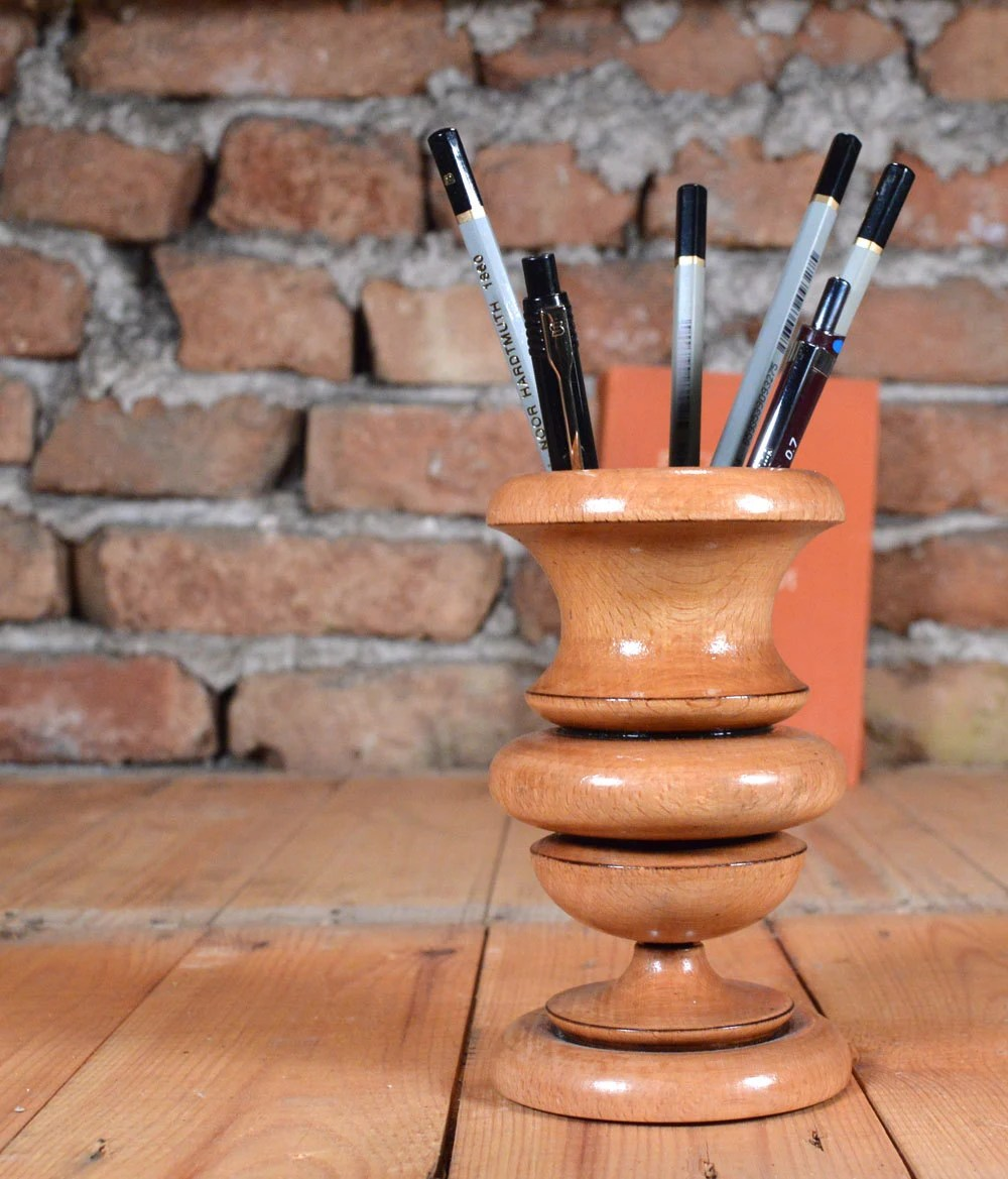 Handmade Pencil Holder Candle Holder Wooden Desk Pen