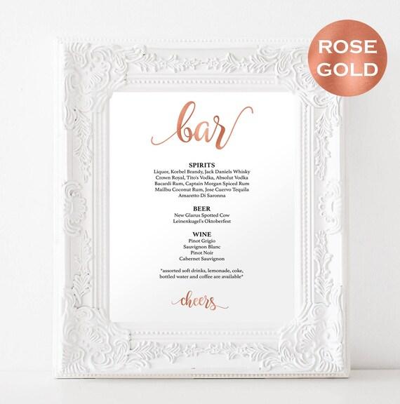 Bar Menu Sign Template - DIY Wedding Bar Menu Printable Sign