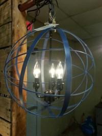 Metal orb chandelier fixture 3 lightDark blue and black.