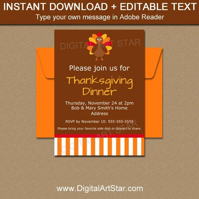 PRINTABLE Thanksgiving Invitation Download, EDITABLE Friendsgiving