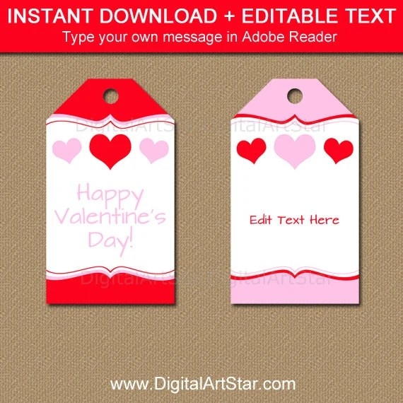 Printable Valentines Day Gift Tag Template, Red and Pink Heart Gift - gift tag template