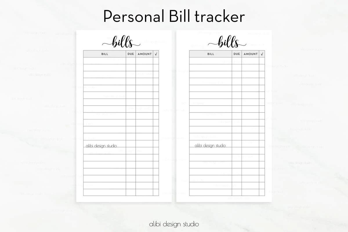 Bill Tracker Personal Planner Printable Planner Bill - bill calendar