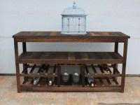 50 Rustic TV Stand or Sofa Table Wine Glass Rack Barn