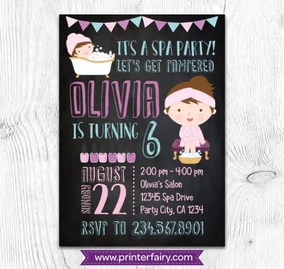 Spa Birthday Invitation Spa Invitation Slumber Party - spa invitation