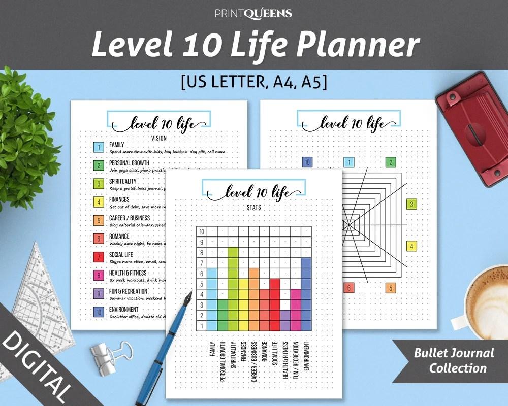 Level 10 Life Level 10 Planner Bullet Journal Template Life - life plan template