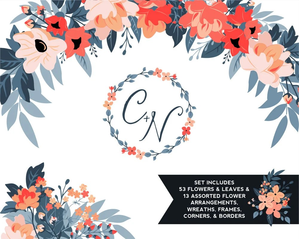 Orange Fall Peonies Wallpaper Coral Amp Navy Peony Floral Clipart Coral Flowers Leaves