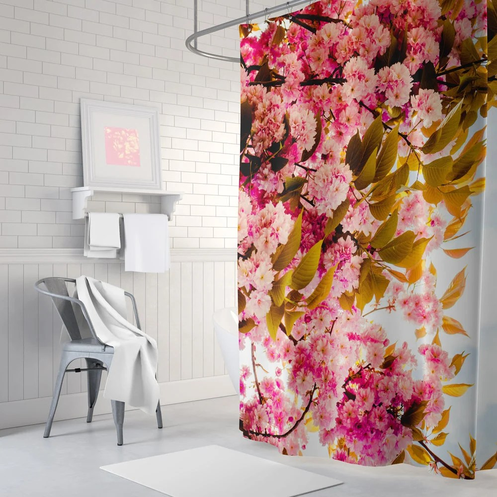 Vorhang Blumen Pink Floral Shower Curtain Extra Long Shower Curtain