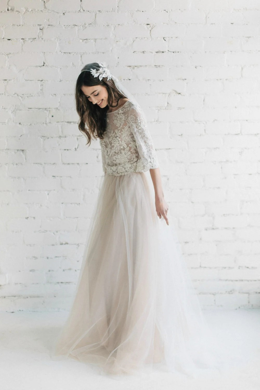 bohemian wedding dress two piece bridal boho wedding dress zoom