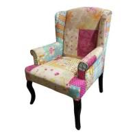 Vintage style Patchwork Chair Unique Colorful Velvet Chair