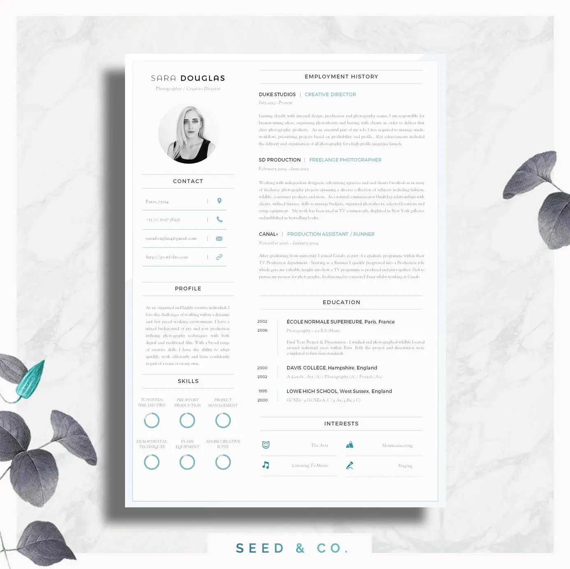 Modern Resume Template Single Page Resume Template Cover - creative resume template