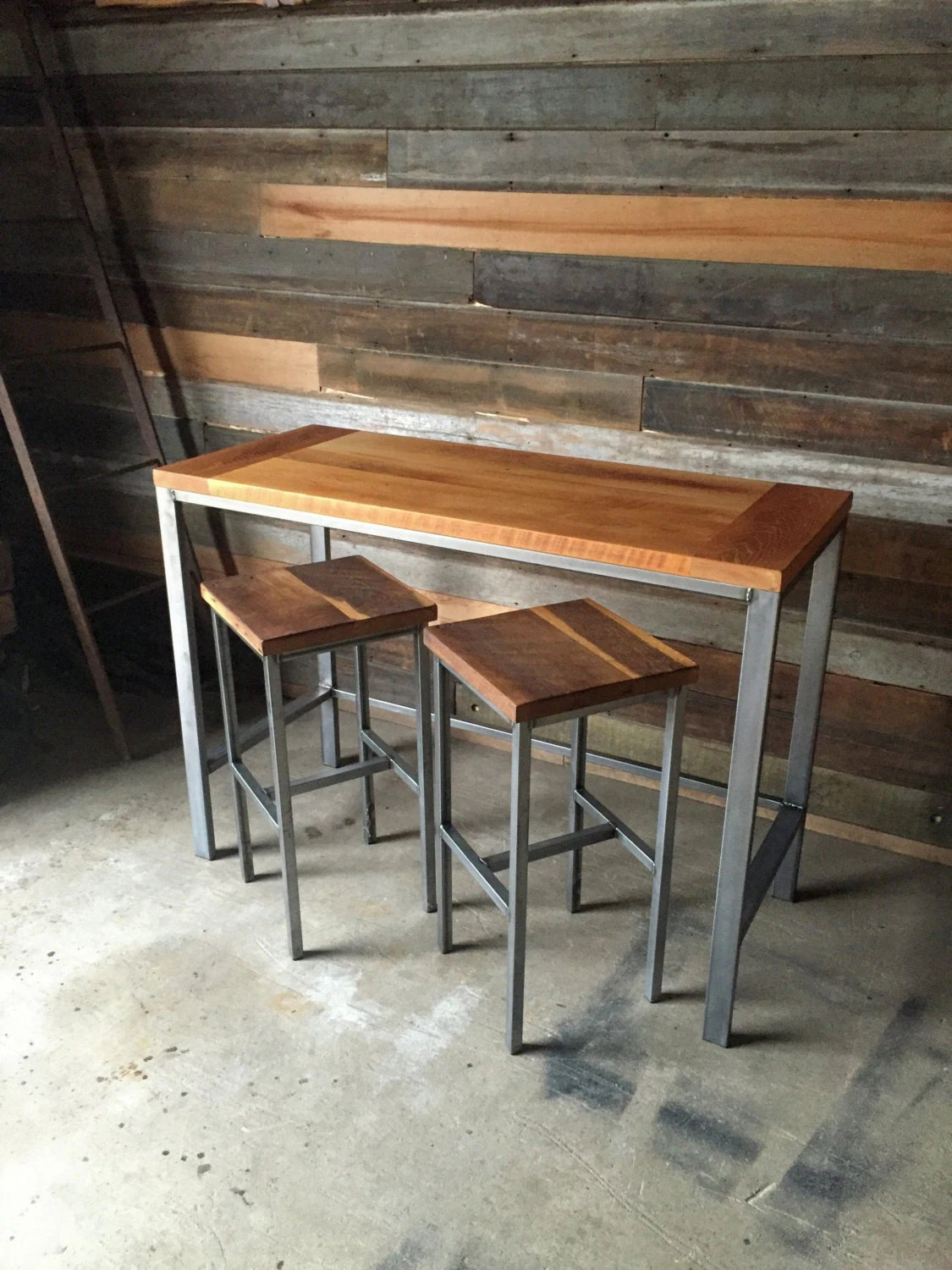 Stehtisch Holz Rechteckig Reclaimed Wood Pub Table With Industrial Metal Base