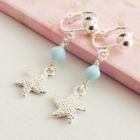 Starfish clip on earrings blue childrens jewelry little girl