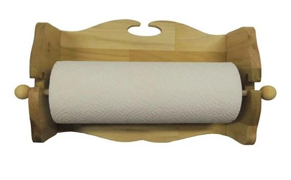 Rustic Wooden Paper Towel Holder Solid Poplar Wall Mount