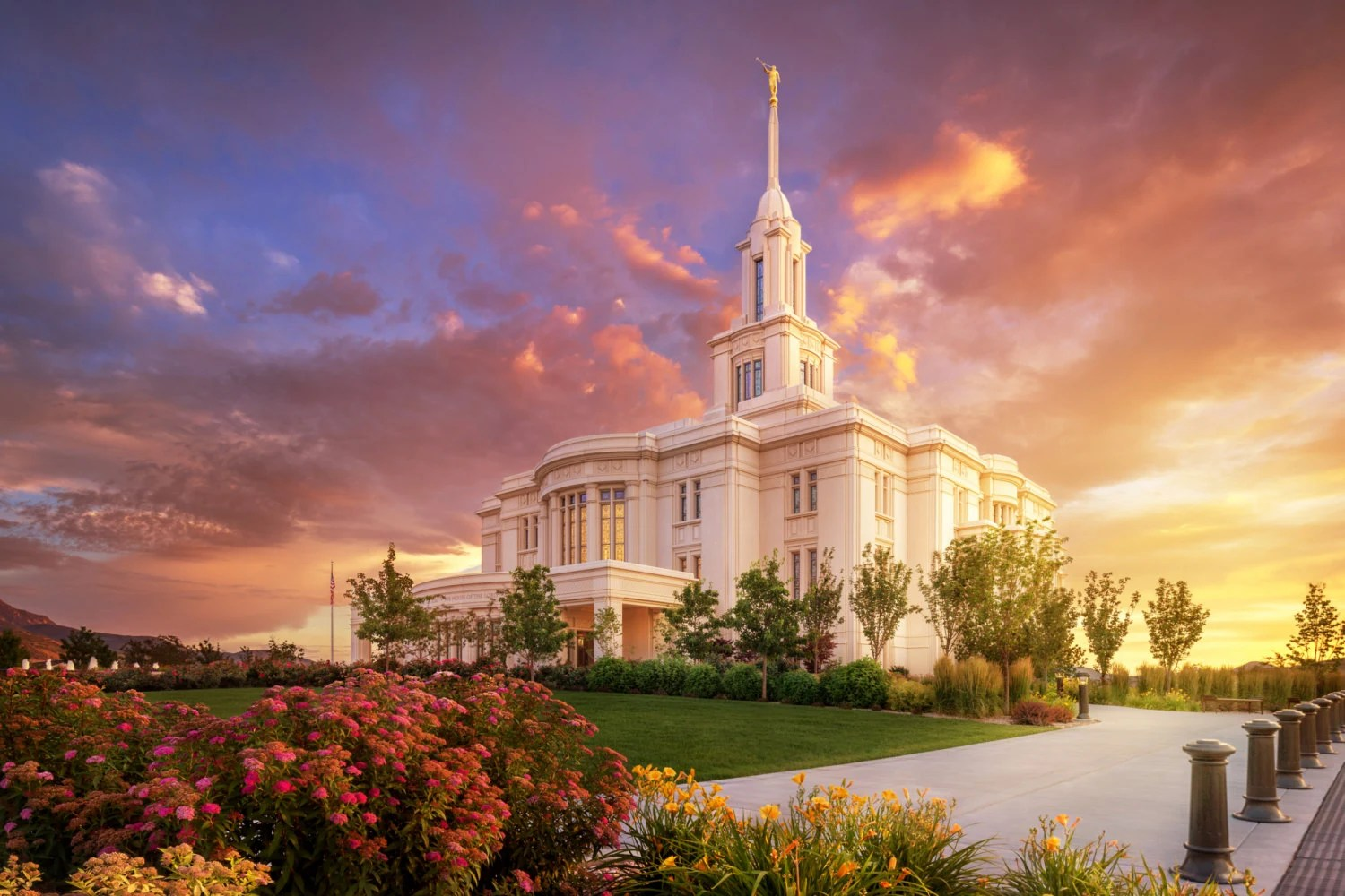 Pink Fall Wallpaper Hd Payson Lds Temple Photography Print