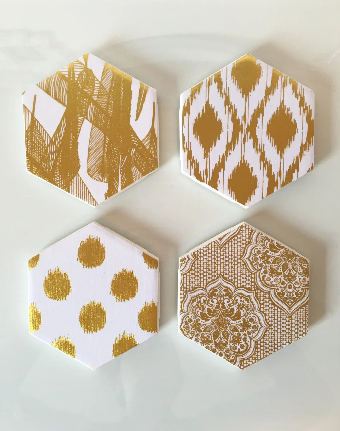 White And Gold Coasters Coasters Gold And White Coasters Decorative Coasters Set Of