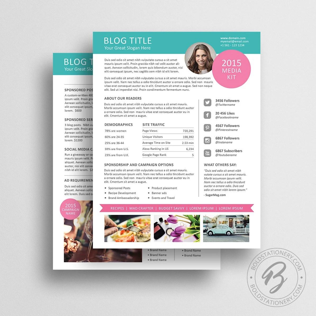 Blog Media Kit Template 01 Ad Rate Sheet Template Press - rate sheet template
