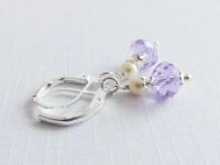 Purple children's earrings clip on earrings flower girl