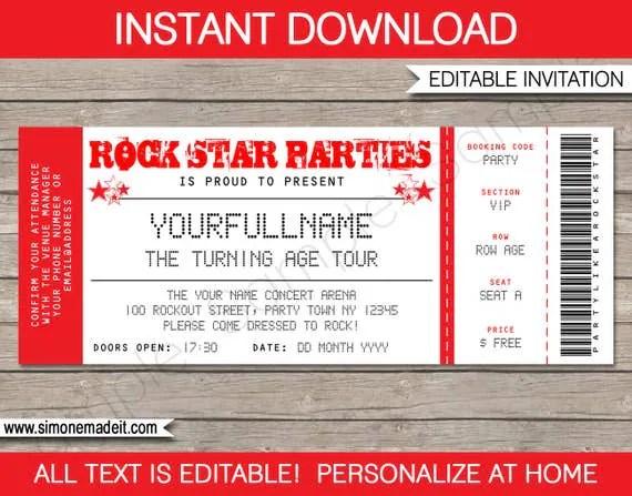 Rock Star Invitation - Concert Ticket Invitation - Rock Star