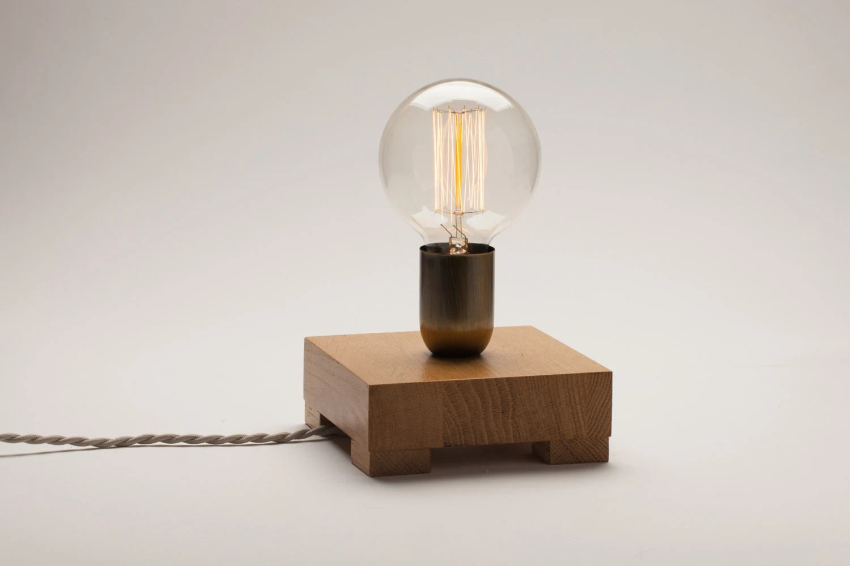 Edison lamp oak wood lamp table lamp edison bulb lamp