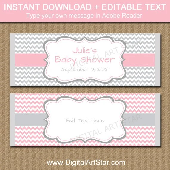 Baby Shower Candy Wrapper Template, PRINTABLE Chocolate Wrappers