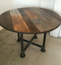 Round table dining tablepipe leg base reclaimed wood planks