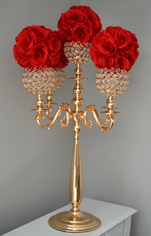 Gold Candelabra Gold Wedding Centerpiece Gold Candle