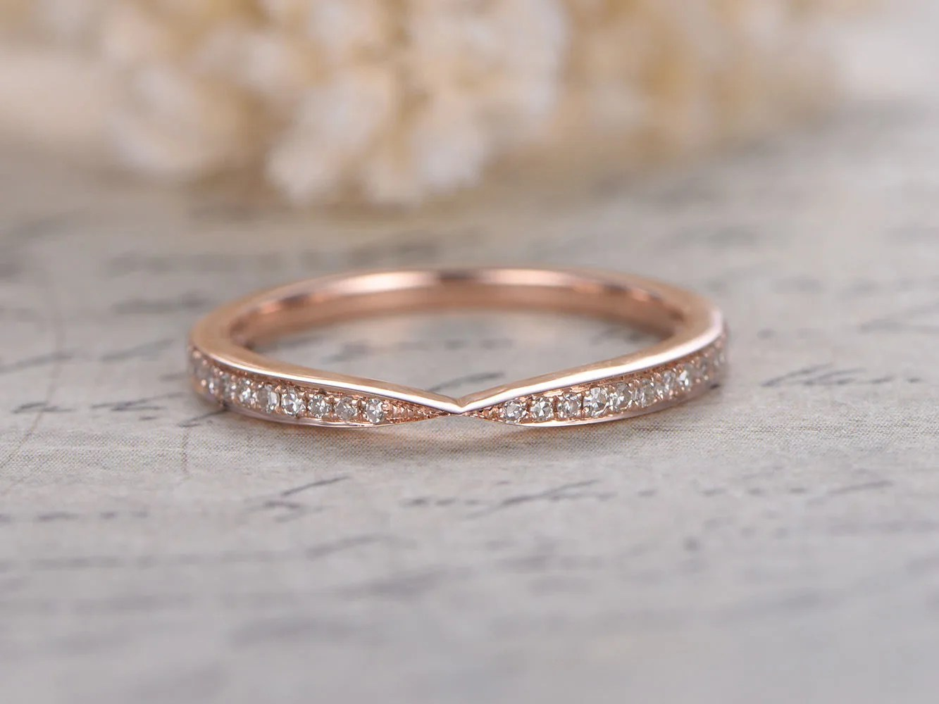 curved wedding band chevron wedding band Curved Wedding Band Chevron Wedding Band Twist Wedding Ring Half Eternity Ring Art Deco Band Vintage Style Stacking Ring 14K Rose Gold