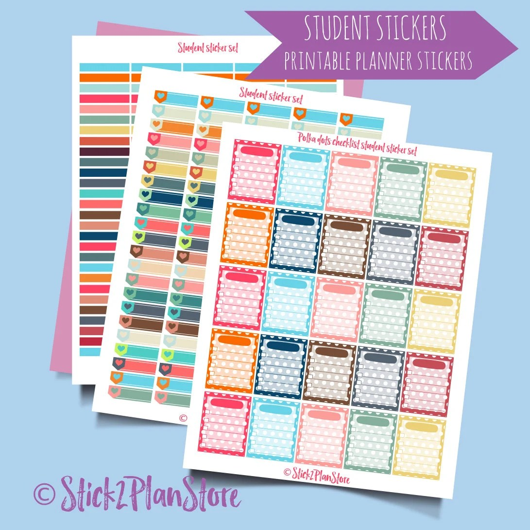 Printable Planner Stickers Student Student Organization Printable Planner Stickers Instant