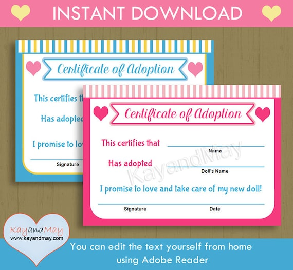 Adoption Certificate for baby doll stuffed animal pet and more - blank adoption certificate template