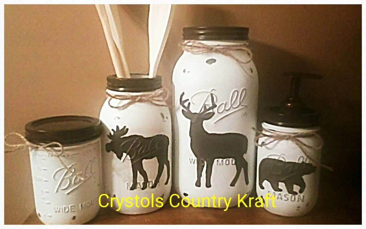Rustic Utensil Crock Deer Moose Bear Kitchen Canister Set Mason Jar Set Brown