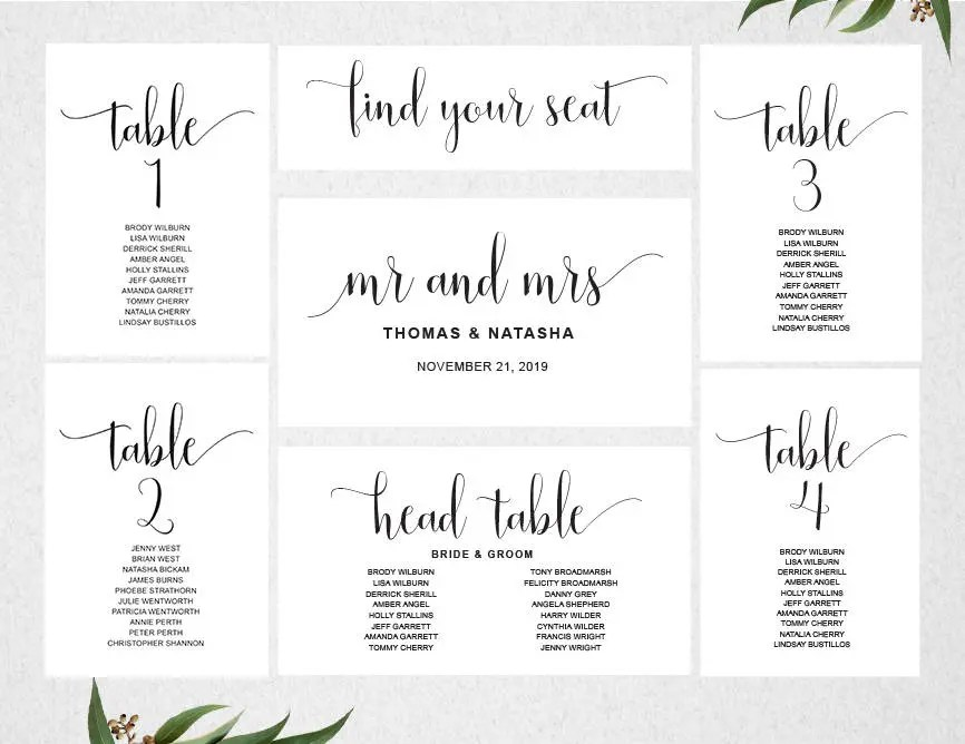 Wedding Seating Chart Template INSTANT DOWNLOAD   Seating Plan