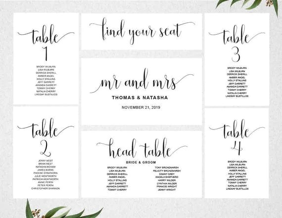 Wedding Seating Chart Template INSTANT DOWNLOAD   Seating Plan - printable chart template