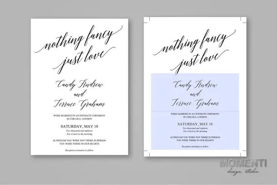Nothing Fancy Just Love Wedding Announcement template - wedding announcement template