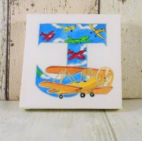 Airplane canvas letter hand painted letter wall art nursery
