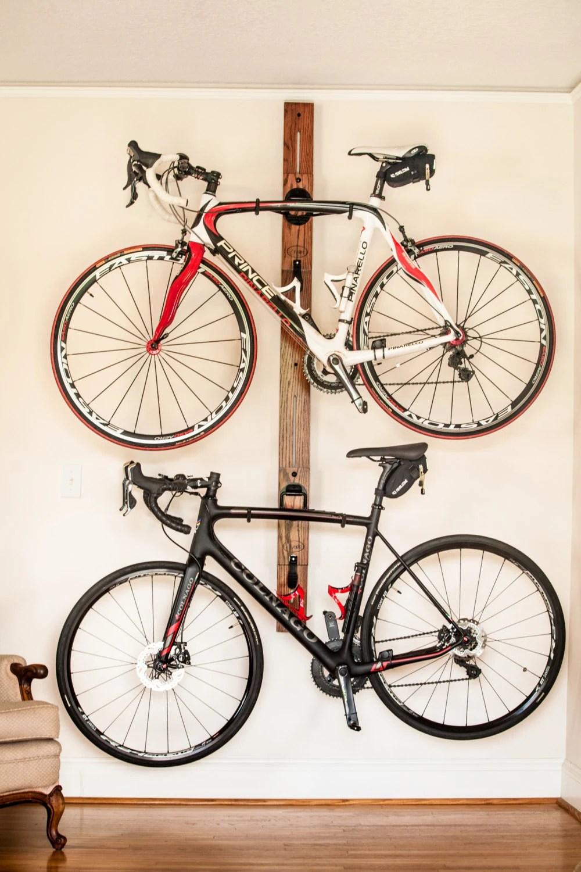 Bike Rack Horizontal Wall Mount Adjustable Double Bike Rack