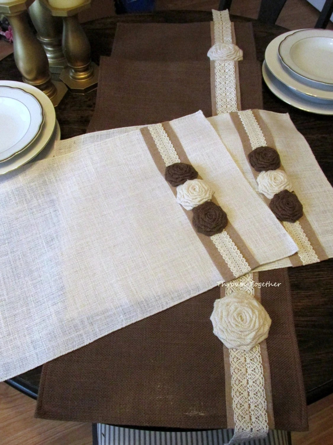 Farmhouse Style Table Runners Holiday Burlap Runner And Place Mats Brown And Off White Rustic