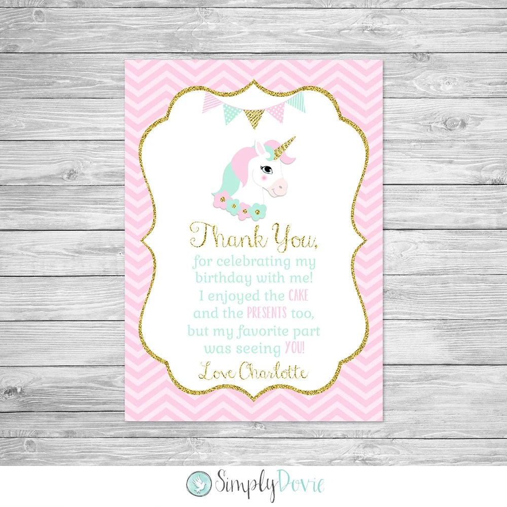 Unicorn Birthday Thank You Card Printable - Unicorn Birthday Party