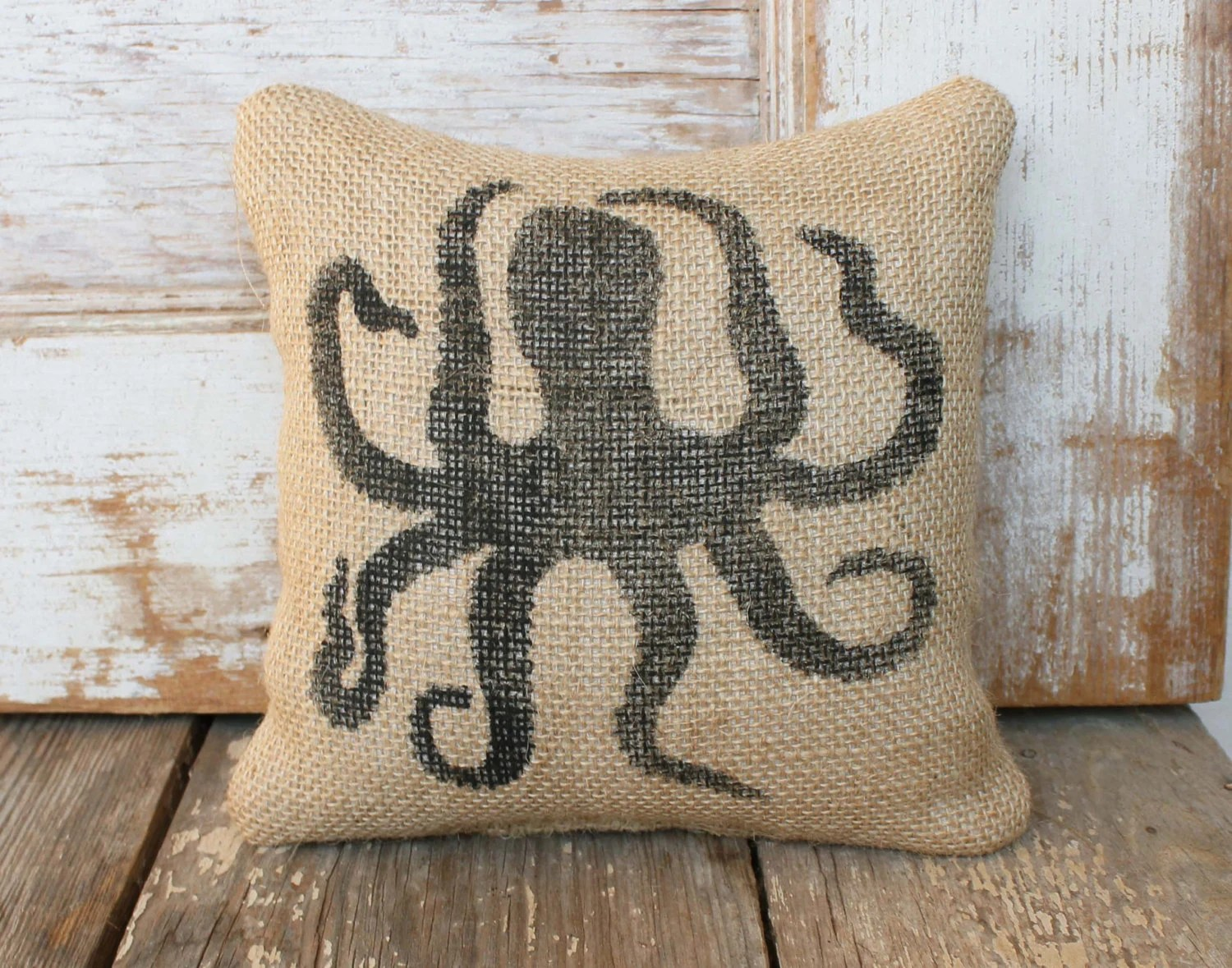 Nautical Doorstop Octopus Burlap Feed Sack Doorstop Nautical Door Stop