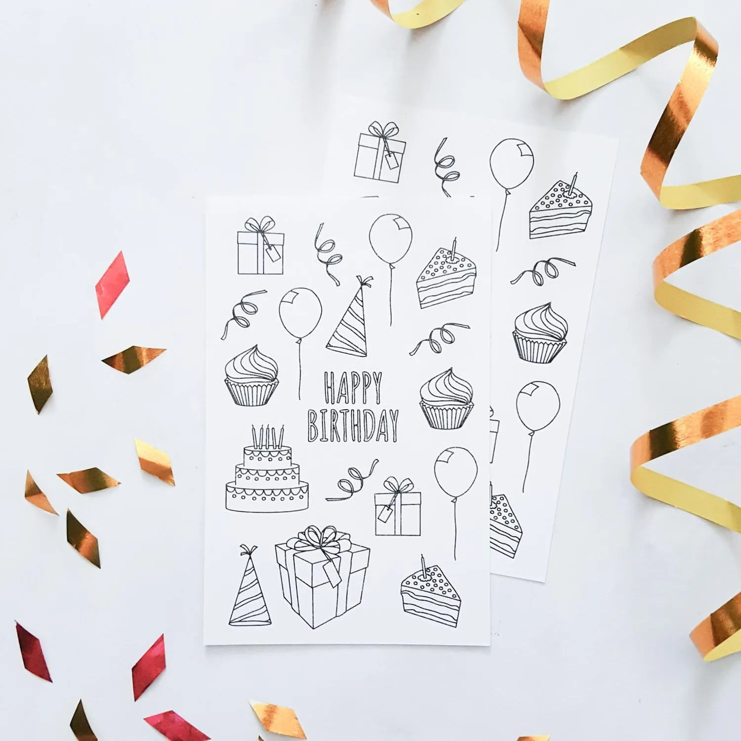 Happy Birthday Planner Stickers Coloring Birthday Stickers - microsoft daily planner