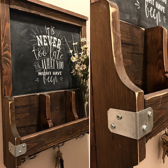 Chalkboard Key Ring Holder Mail Sorter Farmhouse Style