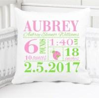 Girls Birth Announcement Pillow Birth Stats Pillow New
