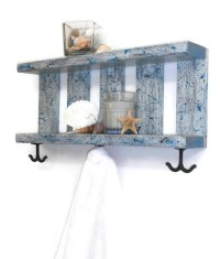 Beach Decor Bathroom Shelves in Weathered Gray with Black and