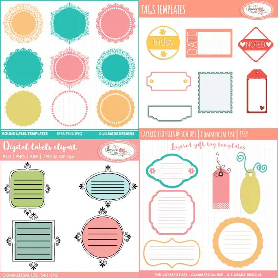 Digital tags, digital labels template bundle, Photoshop templates