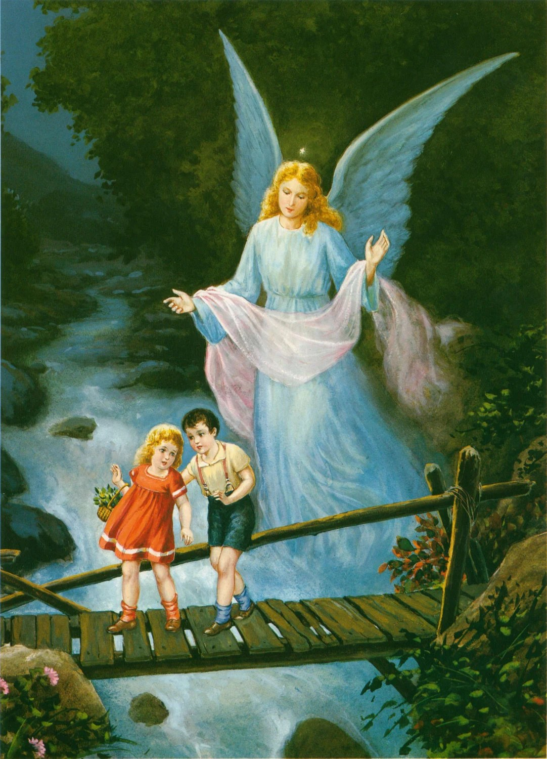 Nice Girl Wallpaper For Facebook Guardian Angel With Boy And Girl Crossing Bridge Religious Art