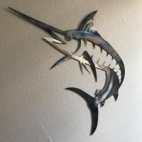 Marlin Metal Wall Art Ocean Nautical Marine Sea Life Beach