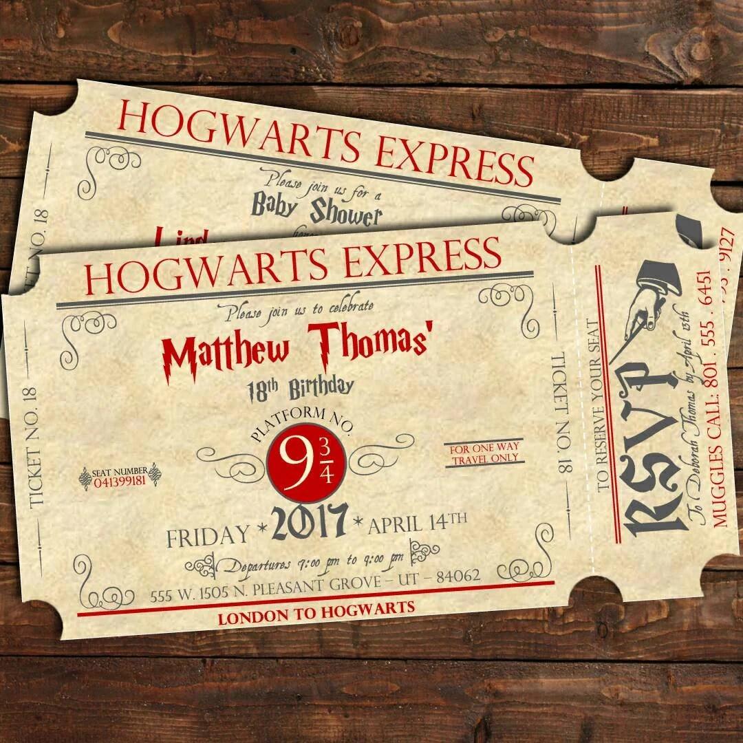 Harry Potter Birthday Train Ticket Invitation Harry Potter - ticket invitation
