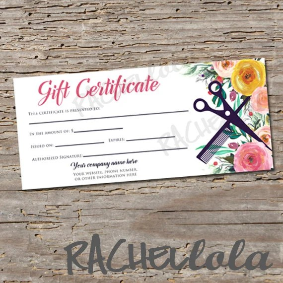 Custom, Hair Salon Watercolor Floral, printable Gift Certificate - Printable Gift Certificate Template