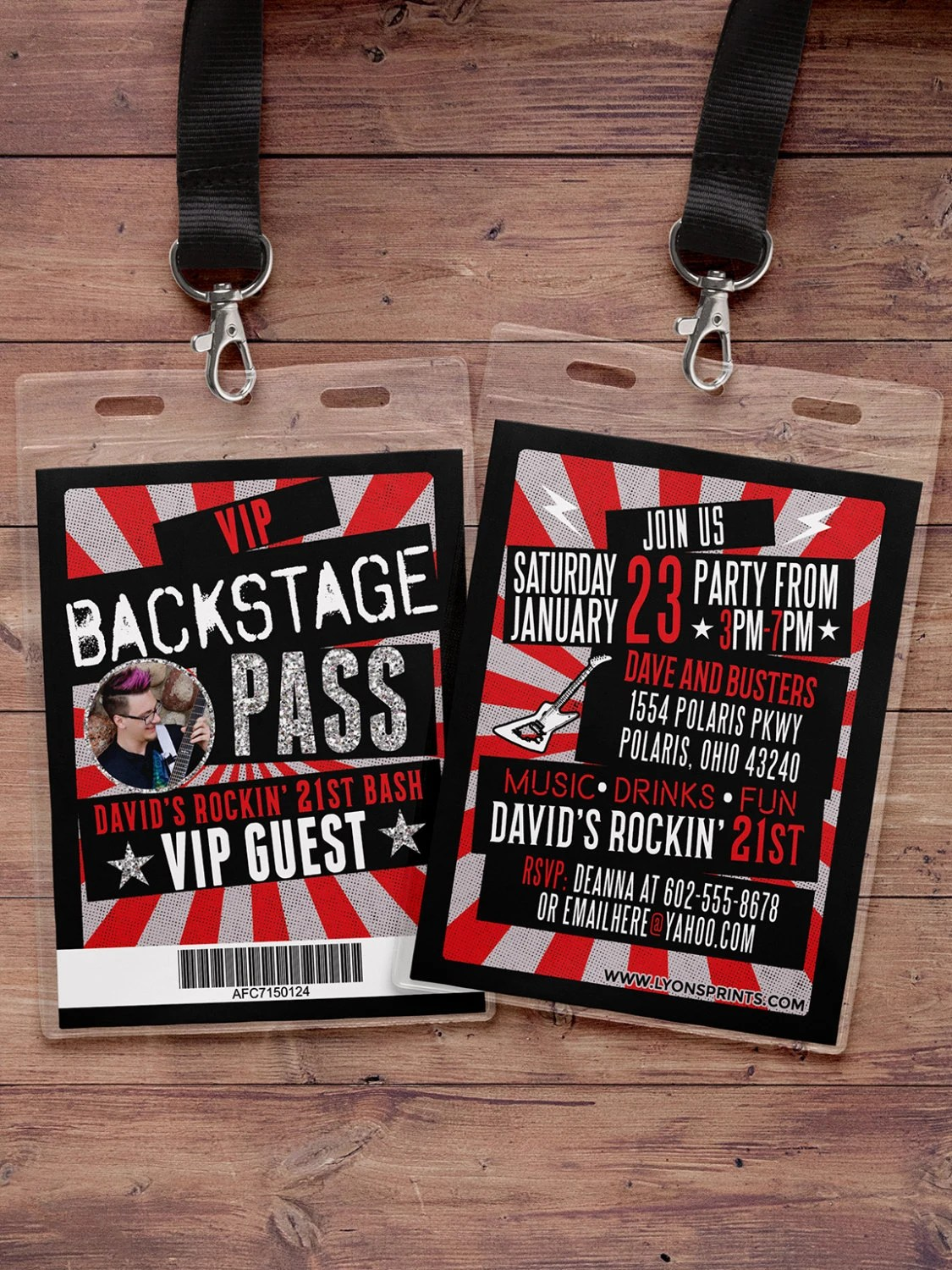 VIP PASS, backstage pass, concert ticket, birthday invitation, 40th