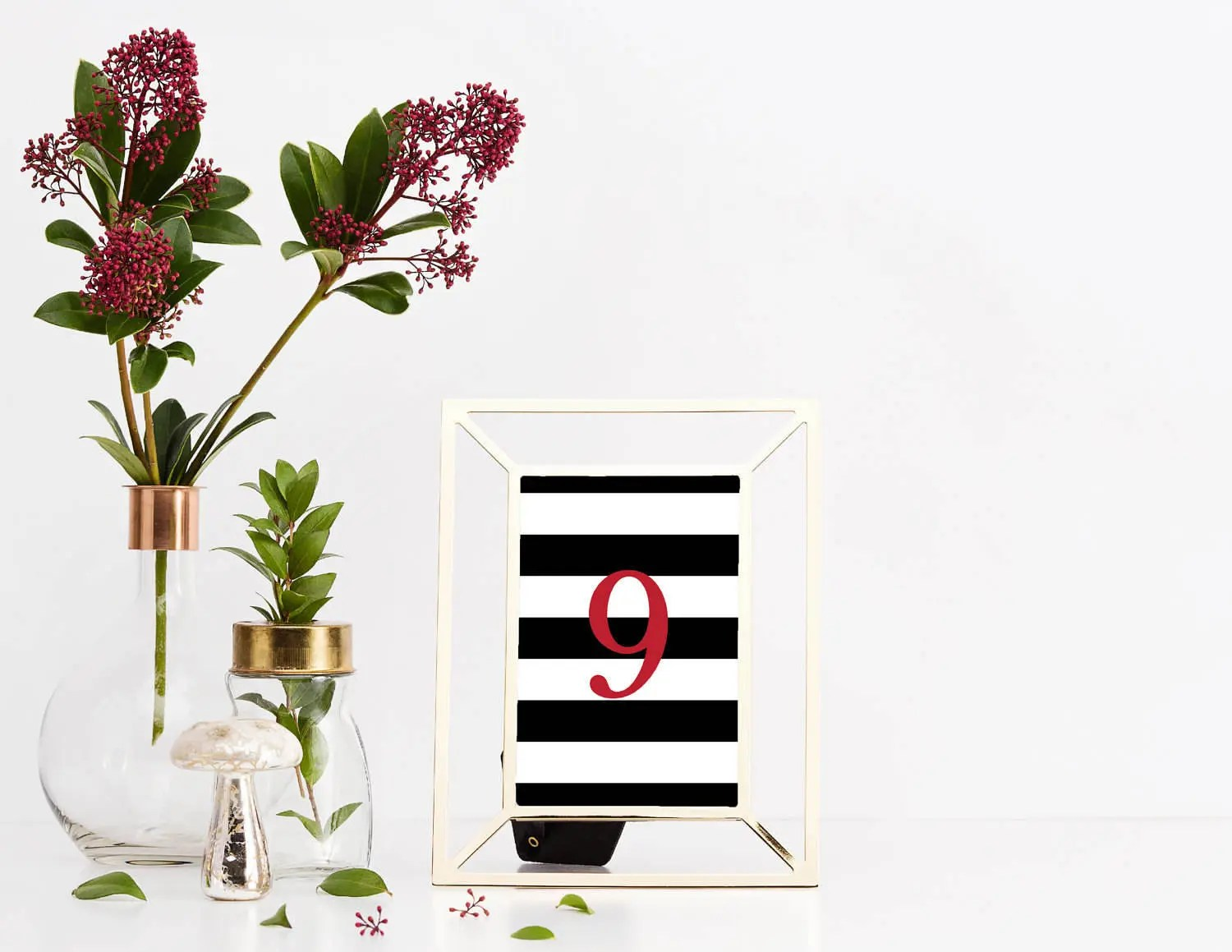 Reception Table Numbers, Wedding Table Numbers, Black, White and Red